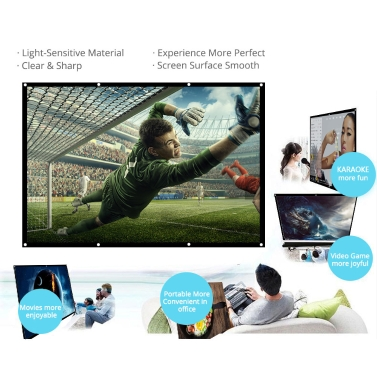 H120 120'' Portable Projector Screen HD 16:9 White