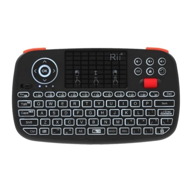 Rii i4 Mini Wireless Tastatur Bluetooth & 2,4 GHz Dual-Modus Handheld-Griffbrett-Hintergrundbeleuchtete Maus Touchpad-Fernbedienung Kompatibel mit Windows / Android