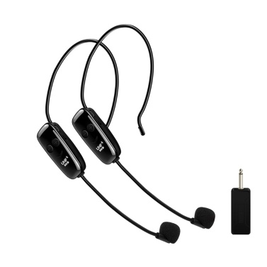 Head-mounted UHF Wireless Microphone One Drag Two Anti-interference Wireless MIC Transmitter Receiver Outdoor Performance Microphone