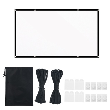 100-inch Portable HD Projector Screen 16:9 Projection Screen Foldable Durable White Wall Screen with Carrying Bag Rope for Outdoor Home Theater