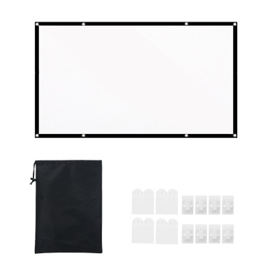 16:9 Projection Screen Portable HD Projector Screen Foldable Thick White Wall Screen with Carrying Bag for Outdoor Home Theater