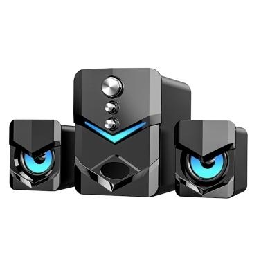 SADA D-222 Computerlautsprecher mit Subwoofer USB-betriebene 2.1 Stereo-Multimedia-Lautsprecher mit LED-Licht 3,5-mm-Audioeingang für PC-Laptop