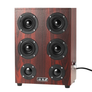 AT FIRST SIGHT 3.5mm Home Speakers Plug Play USB Powered Wired Laptop Speakers Enhanced Bass Subwoofer Sound Box Red Wooden Surface