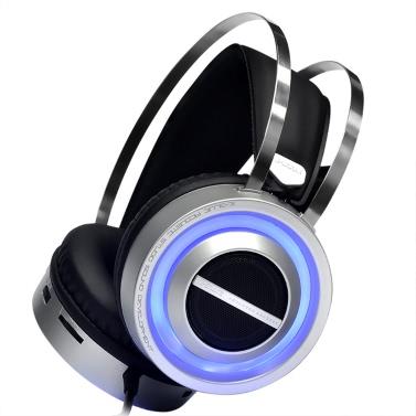 E-3LUE EHS955 Modische USB verdrahtete Über-Ohr-Kopfhörer-Sound-Lautsprecher Dual-Funktions-Gaming Kopfhörer 3.5mm Noise Cancelling-Kopfhörer mit verstecktem Mikrofon LED-Licht
