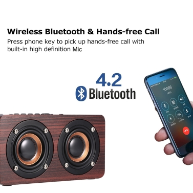 W5 Red Wood Grain Bluetooth Speaker Bluetooth