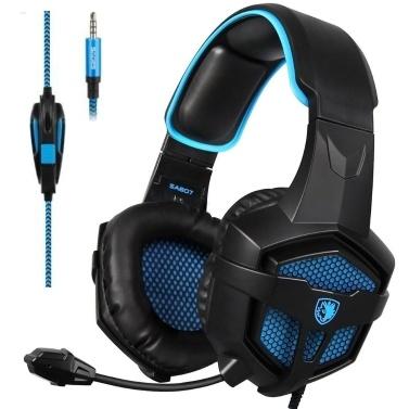 SADES 3,5-mm-Gaming-Kopfhörer mit Kabel über das Ohr-Headset mit Mikrofon-Lautstärkeregler für PC, Laptop und Smartphone