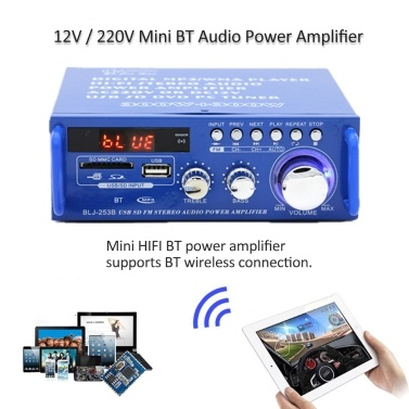 12V / 220V Mini Audio Power Amplifier BT Digital Audio Receiver AMP USB SD Slot MP3 Player FM Radio LCD Display with Remote Control Dual Channel 300W+300W for Car Home Use