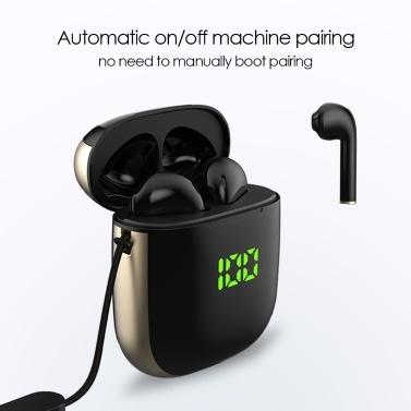 TWS Earphone BT 5.0 Touching Headset Pantalla digital deportiva Soporte para auriculares Carga inalámbrica