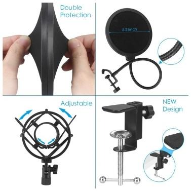 USB Mikrofon Kit 192KHZ / 24BIT Professionelles Podcast Kondensatormikrofon für PC Karaoke Studio Aufnahmemikrofon Kit mit Soundkarte