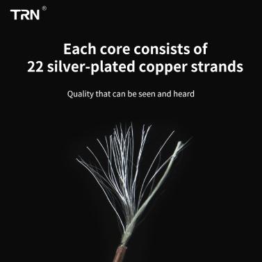 TRN T2 HiFi-Upgrade-Kabel Abnehmbares, austauschbares Kopfhörerkabel 16-adriges, versilbertes 3,5-mm-Stecker-Kopfhörerkabel MMCX / 2-poliger Anschluss Optional