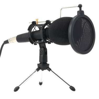 Microphone à condensateur professionnel avec support 3,5 mm pour téléphone portable PC Microphone Microphone pour chanter l'enregistrement Diffusion en direct
