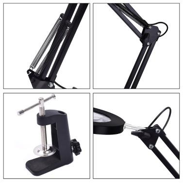Lupe Lupe mit LED-Licht 5-fache Vergrößerung Drei Dimmmodi Einstellbare Helligkeit Schreibtischlampe Leselampe USB-Stromversorgung mit faltbarem Halter