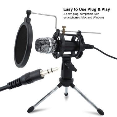 Mini Condenser Microphone PC Microphone 3.5mm Plug and Play Home Studio Podcast Vocal Recording Microphones with Mini MIC Stand Dual-layer Acousticfilter for Phone Laptop PC Tablet
