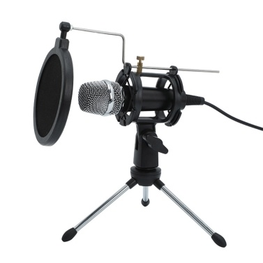 Mini Condenser Microphone PC Microphone 3.5mm Plug Play Home Studio Podcast Vocal Recording Microphones Mini MIC Stand Dual-layer Acousticfilter Phone Laptop PC Tablet
