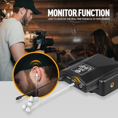 UHF Wireless Collar Clip Microphone with Audio Monitor Function for Smartphones Cameras Outdoor Interview Live Broadcast Tie-clip Microphone