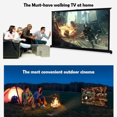 50-inch Projector Screen 16:9 Tabletop Projection Screen Manual Pull Up Folding Projecting Screen Home Theater for DLP Projector Handheld Projector