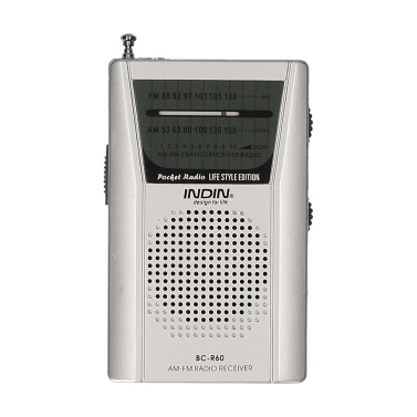 INDIN BC-R60 AM FM Rádio portátil de bolso operado por bateria Mini rádio reprodutor de música operado por alto-falante sem fio com 2 pilhas AA para casa e ao ar livre