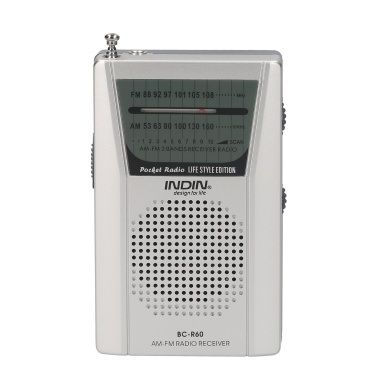 INDIN BC-R60 AM FM Battery Operated Portable Pocket Radio Mini Radio Music Player Operated by 2 AA Battery Wireless Speaker for House & Outdoor