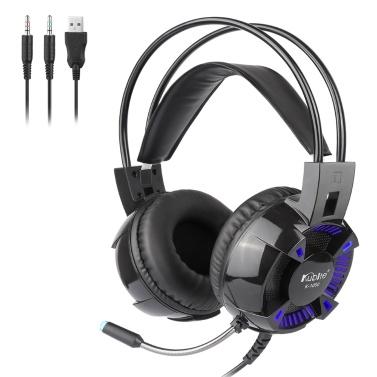 Kubite K1000 3,5-mm-Gaming-Kopfhörer mit Kabel über das Ohr Headset Surround Sound-Kopfhörer mit Mikrofon für Desktop-Computer-PC