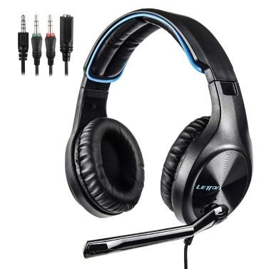 LETTON L6 3,5-mm-Gaming-Headset Stereo-Over-Ear-Kopfhörer mit einstellbarem Mikrofon für PC-Laptop-Smartphones