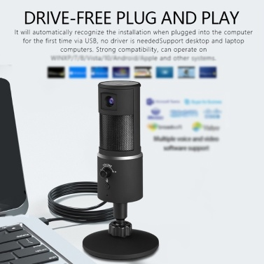 Wireless Bluetooth USB Streaming Microphone with Webcam HD1080P for iPhone/iPad/Mac/Android Phone/Tablet/PC