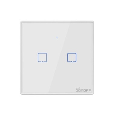 SONOFF T2EU2C-TX 2 Gang Smart WiFi Wall Light Switch 433Mhz RF Remote Control APP/Touch Control Timer EU Standard Panel Smart Switch Compatible Google Home/Nest & Alexa