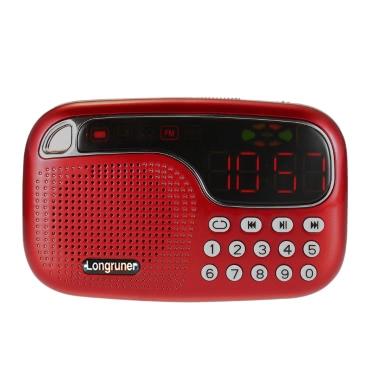 Longruner L-21 Mini FM Radio Speaker Digital Stereo Speaker High Fidelity Sound Quality LED Display Screen USB Disk TF Card 3.5mm AUX-IN