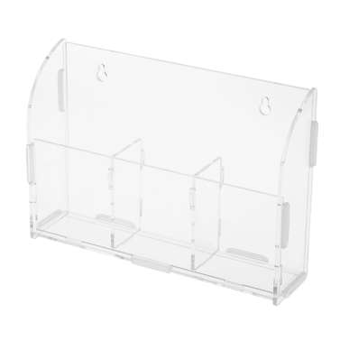 Acrylic Remote Control Storage Box Sundries Holder Wall Mounted Bin Storage Rack Container w/3 Lattices Home Office