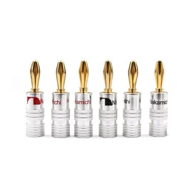 24K Gold Banana Plugs Audio Jack Connectors Dual Screw Lock Jack Speaker Banana Connectors for Speaker Wire Wall Plate 12 Pairs (24PCS)