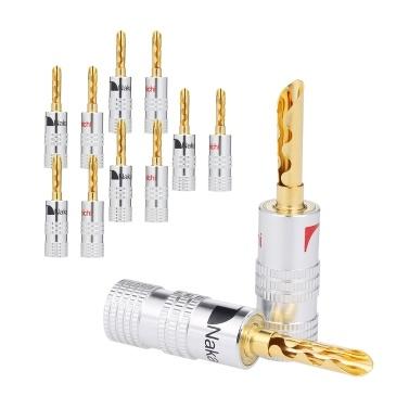24 Karat vergoldetes Kupfer 4 mm Bananenstecker Schwarz & Rot Lautsprecheranschluss Audioverstärker