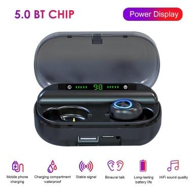V10 Fone de Ouvido BT5.0 Fones de Ouvido Fone de Ouvido Estéreo Duplo No Fone de Ouvido HD com Caixa de Carregamento