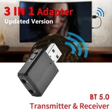 BT 5.0 sem fio receptor adaptador de áudio transmissor 3.5mm carro AUX música