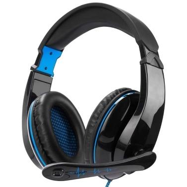 LETTON L5 3,5-mm-Gaming-Headset Over-Ear-Kopfhörer Stereo-Musik-Kopfhörer mit einstellbarem Mikrofon für PC-Laptop-Smartphones