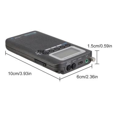 Retekess TR105 Tragbares Flugzeugband Radio FM AM AIR SW Multiband Radio Digital Tuning Radio LCD Display Timer EIN / AUS Uhr mit Kopfhörer-Lanyard