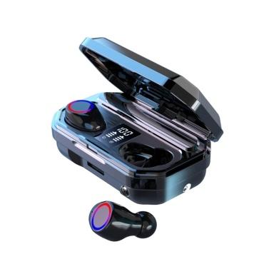M12 TWS Bluetooth 5.0 Drahtloser Kopfhörer Mini-Smart-In-Ear-Headset mit Mikrofon-Digitalanzeige Notbeleuchtung Nehmen Sie automatische Ohrhörer-Pairing auf