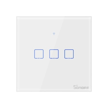 SONOFF T1UK3C-TX 3 Gang Smart WiFi Wall Light Switch 433Mhz RF Remote Control APP/Touch Control Timer UK Standard Panel Smart Switch Compatible Google Home/Nest & Alexa