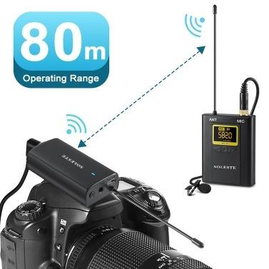 WM-02 20-Channel UHF Wireless Microphone System 1 Receiver 2 Transmitters 2 Lavalier Microphone 80m Range Compatible with XLR Camcorder DSLR Camera Smartphone PC