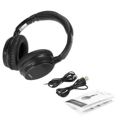 AUSDOM M06 Wireless BT Headset Stereo Music Headphone 3.5mm Audio Play Earphone Hands-free Mic Black iPhone 6S 6 Samsung S6 Note 5 Notebook MP3 MP4 BT-enabled Devices