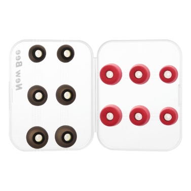 New Bee Replacement Earbud Tips 3 Pairs Rebound Memory Foam Tips & 3 Pairs Silicone Earbuds S M L Size w/ Storage Box for Headphones Earphone Headset