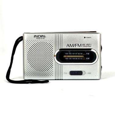 BC-R21 Mini Radio Altoparlante portatile AM FM Radio telescopiche regolabili con tasca per antenna