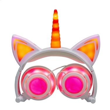 LX-UR107 faltbare Katze Ohr Kopfhörer blinkende LED-Leuchten für PC Laptop 3,5 mm AUX wiederaufladbare Over-Ear-Headset verstellbares Stirnband Kinder Kopfhörer