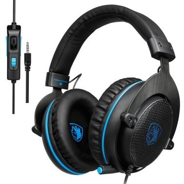 SADES 3,5-mm-Gaming-Kopfhörer mit Kabel und Rauschunterdrückung über das Ohr-Headset mit Mikrofon-Lautstärkeregler für PC, Laptop und Smartphone