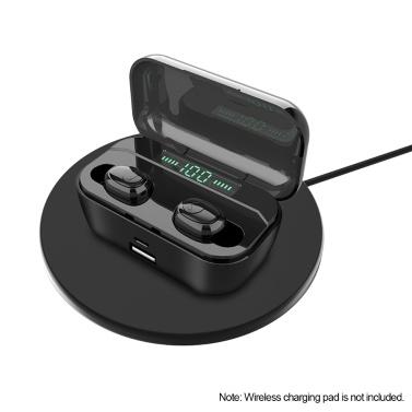 Bluetooth 5.0 TWS Earbuds Fones de ouvido sem fio verdadeiros com microfone duplo Fones de ouvido estéreo intra-auriculares Gêmeos Fone de ouvido esportivo Caixa de carregamento Bateria Display digital Suporte a carregamento sem fio