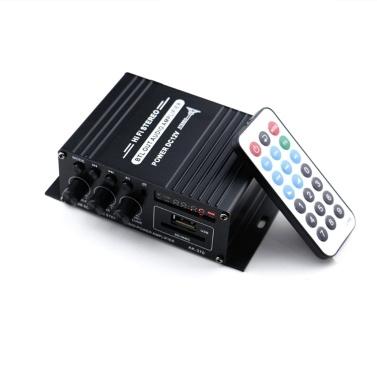 AK370 12V Mini Audio Endverstärker BT Digital Audio Receiver AMP USB Speicherkarten Slot MP3 Player FM Radio LCD Display mit Fernbedienung Dual Channel 20W + 20W Bass Höhen Lautstärkeregler für den Heimgebrauch