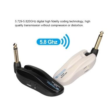 Retekess TA100 5.8G Drahtloses Audioübertragungssystem Wiederaufladbarer Audioempfänger-Sender 6,35-mm-Stecker für E-Gitarren-Bassverstärker