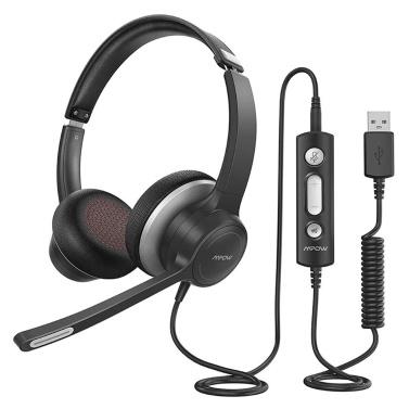 Mpow HC6 USB / 3,5-миллиметровая гарнитура с микрофоном Накладной микрофон со штангой 270 градусов Встроенный микрофон с отключением звука для мобильного телефона на ПК для call-центра