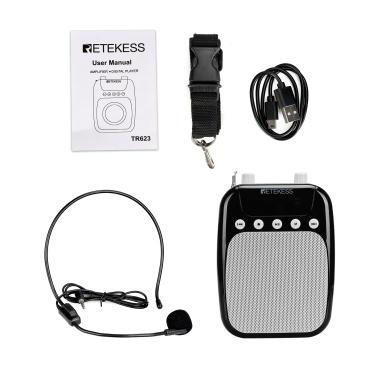 Retekess TR623 Megafone Amplificador de Voz Portátil Professor Microfone Alto-falante Gravação FM com MP3 Player Rádio FM Cartão TF USB