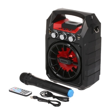 Wireless Bluetooth Speakers 15W Outdoor Karaoke Speaker Handheld Wireless Microphone FM Radio TF Card AUX IN U Disk Music Player One-click Recording Dual Microphone Input Remote Control
