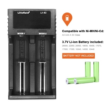 Liitokala Lii-S2 Ladegerät LCD 2 Steckplätze für 18650 26650 21700 18350 AA AA Lithium NiMH Batterie Autopolaritätsdetektor Ladegerät
