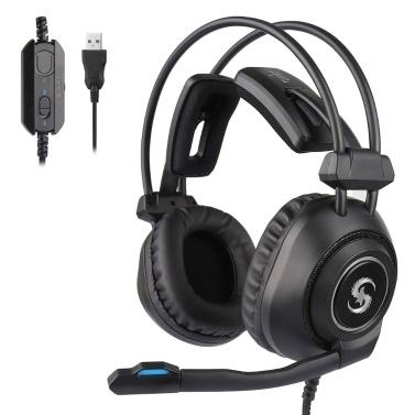 KUBITE K-17 Pro Gaming Headset Over-Ear-Kopfhörer mit einstellbarem Mikrofon-Lautstärkeregler USB-Rauschunterdrückung für Desktop-PCs